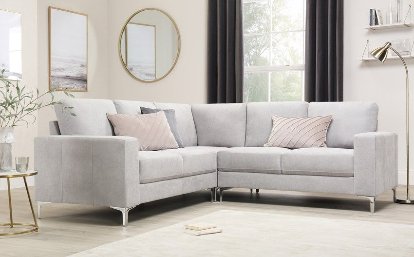 Baltimore Dove Grey Plush Fabric Corner Sofa Furniture Choice Corner Sofa Living Room Corner Sofa Furniture Choice