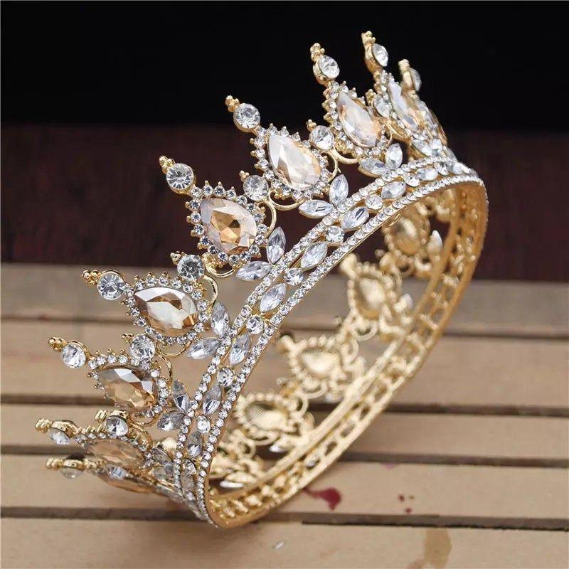 Vintage Baroque Gold Pearl Leaf Bridal Tiara Cryst