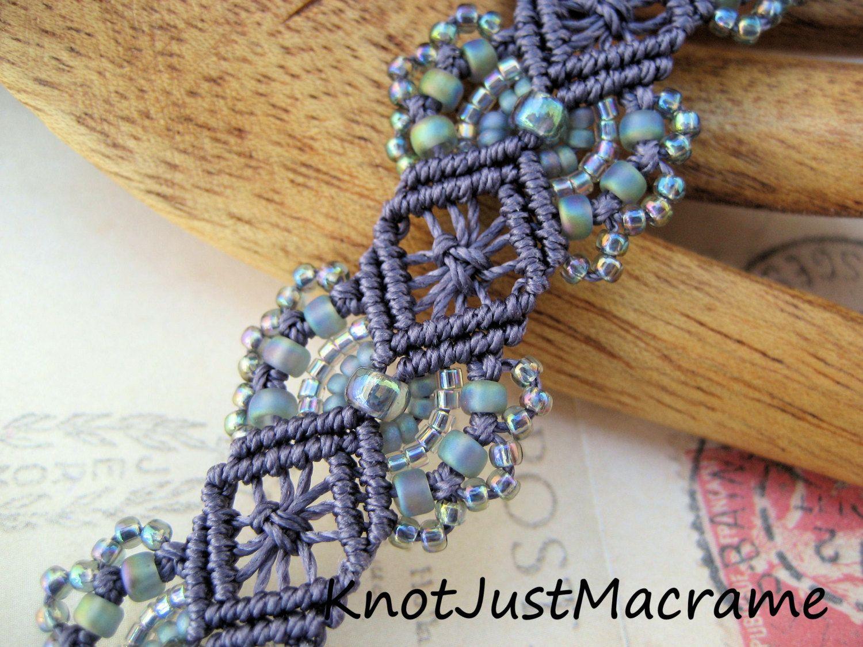 Micro Macrame Tutorial Hydrangeas Bracelet Pattern Beaded