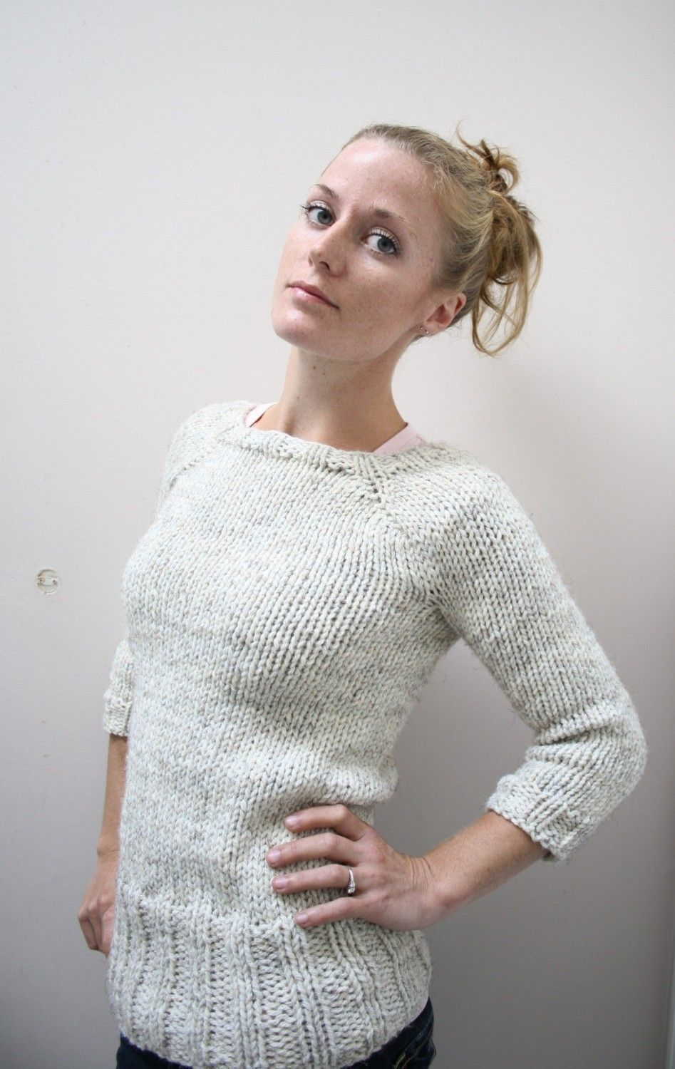 7fb2364296 KNITTING PATTERN    Oatmeal Pullover    top down chunky sweater PDF ...