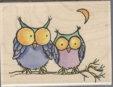 #226 Cute OWL Couple by Penny Black NEW Wood Mounted Rubber Stamp ***L@@K***