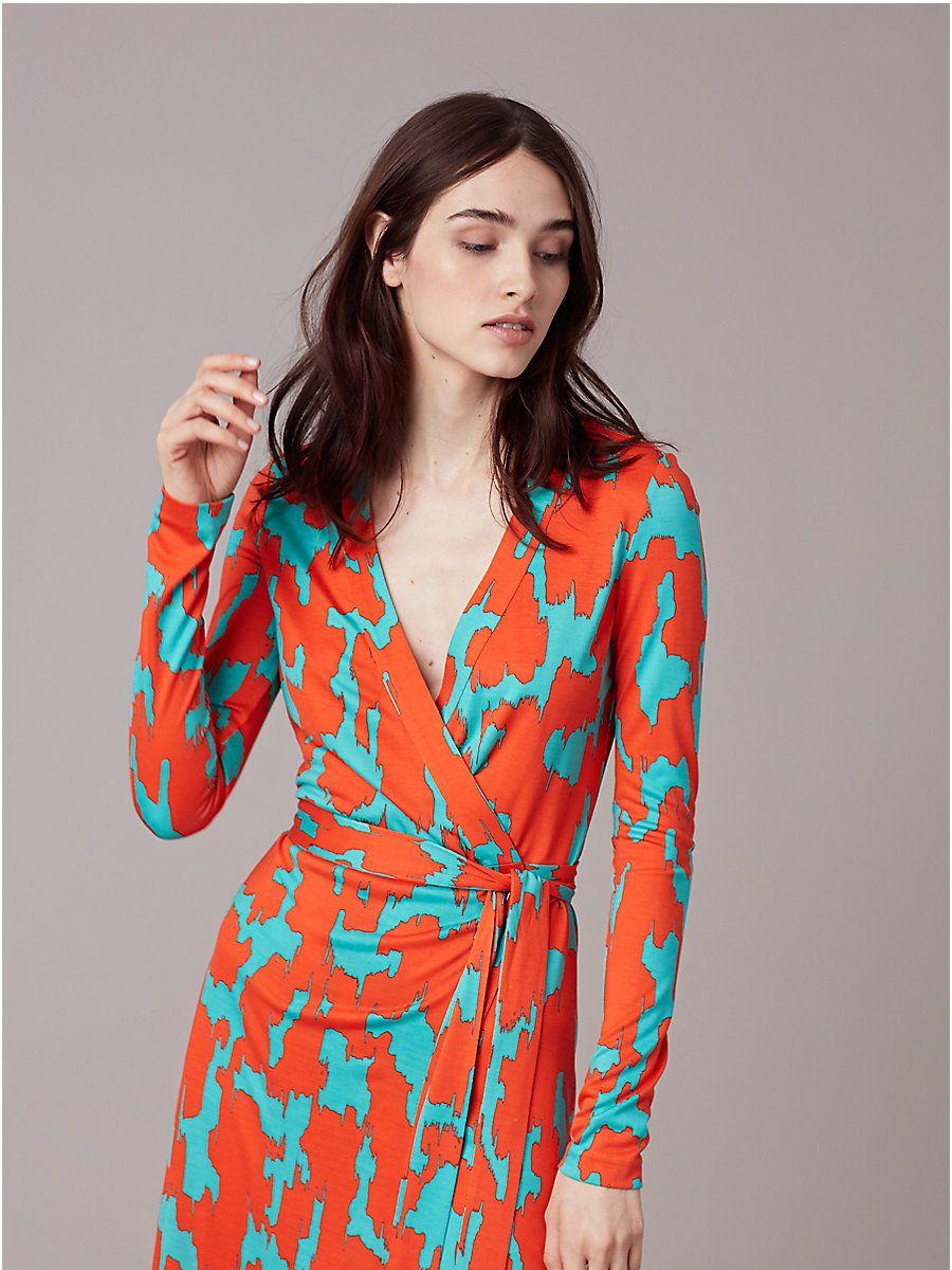 Banded Long Sleeve Wrap Dress In Eylan Bold Red Wrap Dress Diane Von Furstenberg Wrap Dress Iconic Dresses [ 1200 x 900 Pixel ]