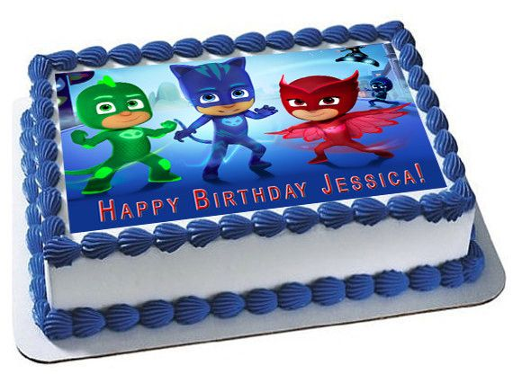 PJ MASKS 1 Edible Birthday Cake Topper OR Cupcake Topper Decor Pj
