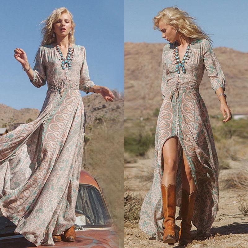 55b187be582c59 Women Summer Boho Chiffon Party Evening Beach Dresses Long Maxi Dress  Sundress I
