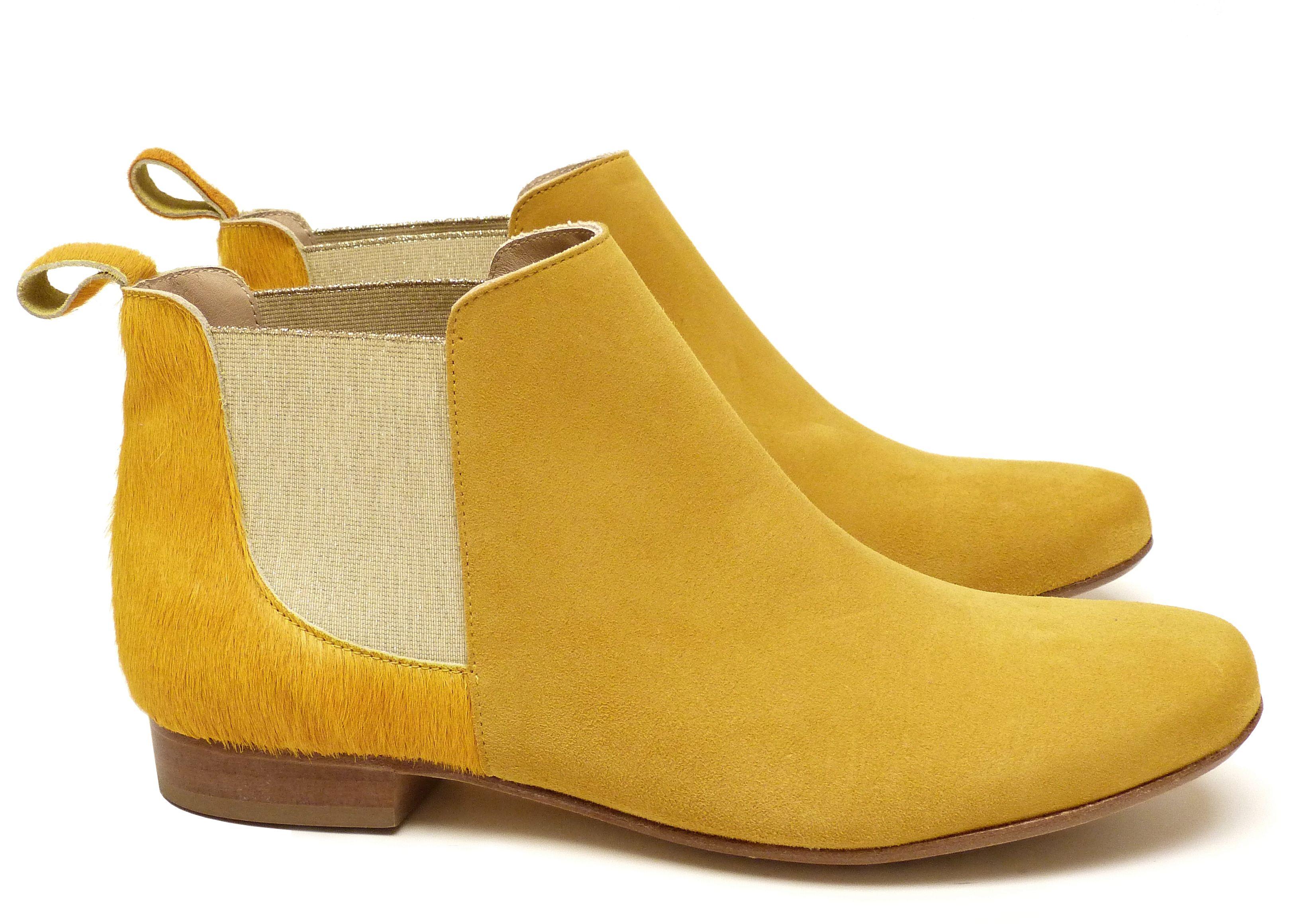 Chaussure Femme Boots Printemps Ete 2015 Maurice Manufacture BRICE cuir à  poil ras jaune soleil -