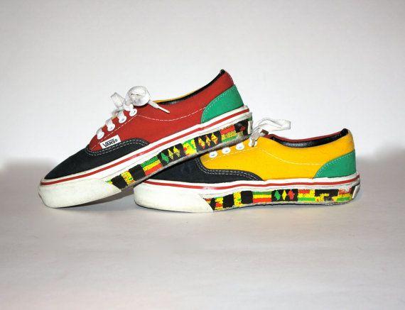 4160aeb4bf VANS RASTA Rare Vintage Sneakers Size Womens 6.5 - AUTHENTIC -