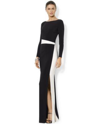 c3411dfdd22b7 Lauren Ralph Lauren Long-Sleeve Colorblocked Gown - Dresses - Women - Macy's