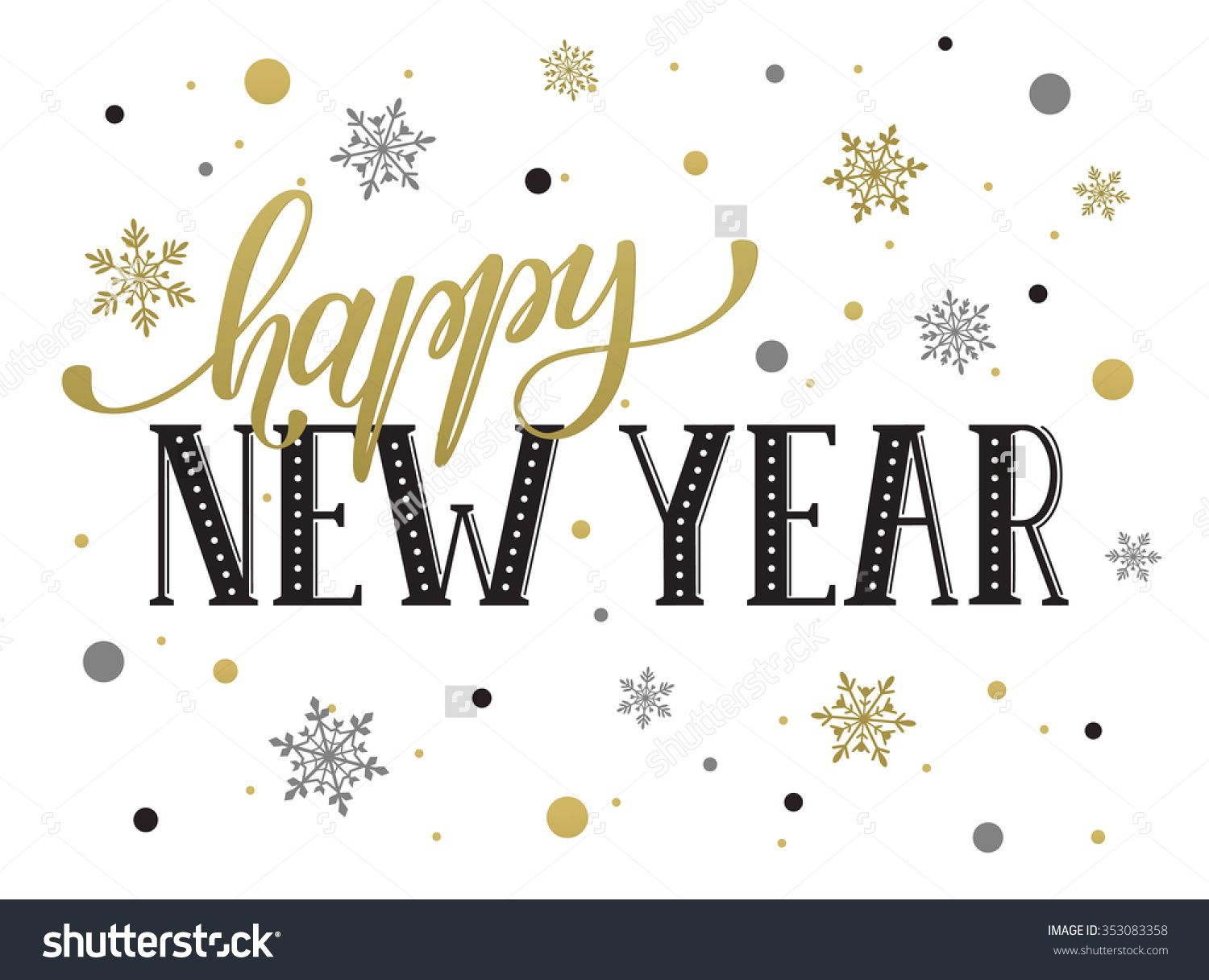 Happy New Year Postcard Template. Modern Lettering With Snowflakes ...