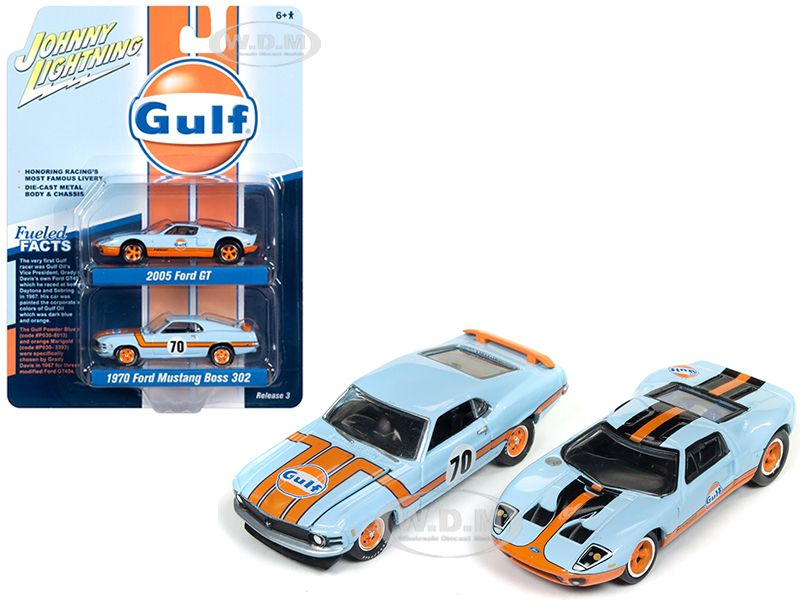 Www Diecastmodelswholesale Com 2005 Ford Gt Light Blue Gulf And 1970 Ford Mustang Boss 302 70 Light Blue Gulf Ford Gt Mustang Boss 302 1970 Ford Mustang
