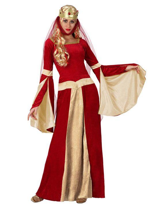 be5685d62d6 Déguisement dame médiévale rouge et or femme   Ce déguisement de dame médiévale  rouge et or