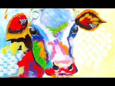 Colorful Cow Painting Acrylic Tutorial Beginner Abstract Lesson Cow Painting Abstract Art Lesson The Art Sherpa