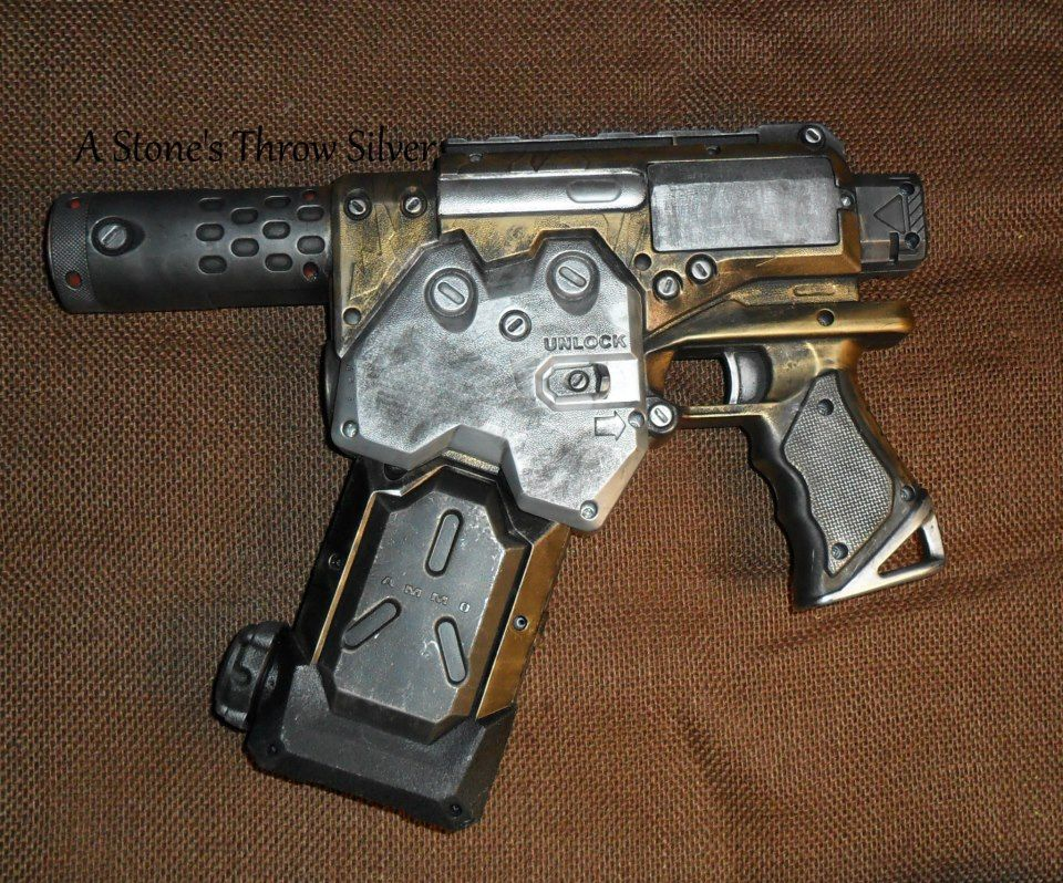 Gold and Silver Nerf Supersoaker Steampunk Watergun, $40. Comes with 3 water tanks. SOLD, can be made again.