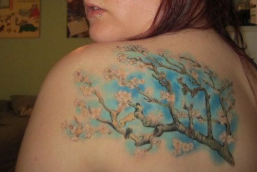 Tattoo<3 I got Van Goghs Blossoming Almond Tree. A print of this painting has been hanging in my house since I can remember, so now I can take it with me wherever I go  Done by Thomas at King Street Body Gallery in Cocoa, FL Tattoo~