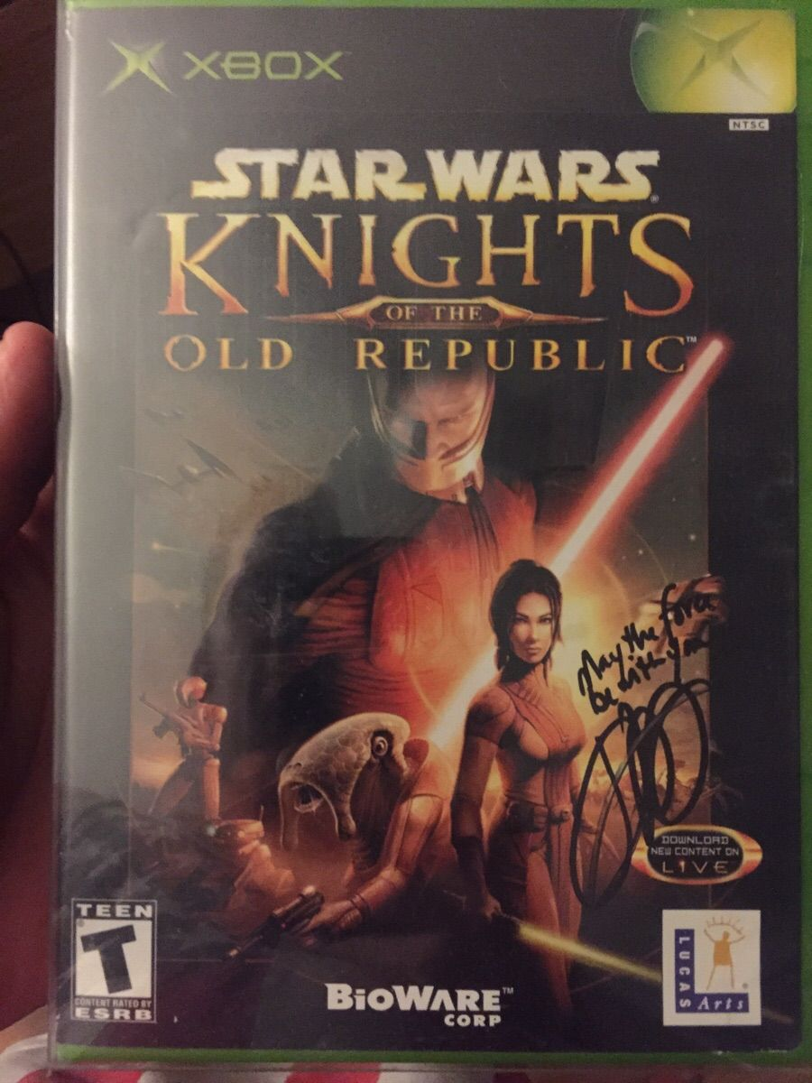 Still Love This Game 15 Years Later Got It Signed At A Con Last Weekend Jennifer Hale Voice Of Bastilla Sh The Old Republic Star Wars Games Star Wars The Old