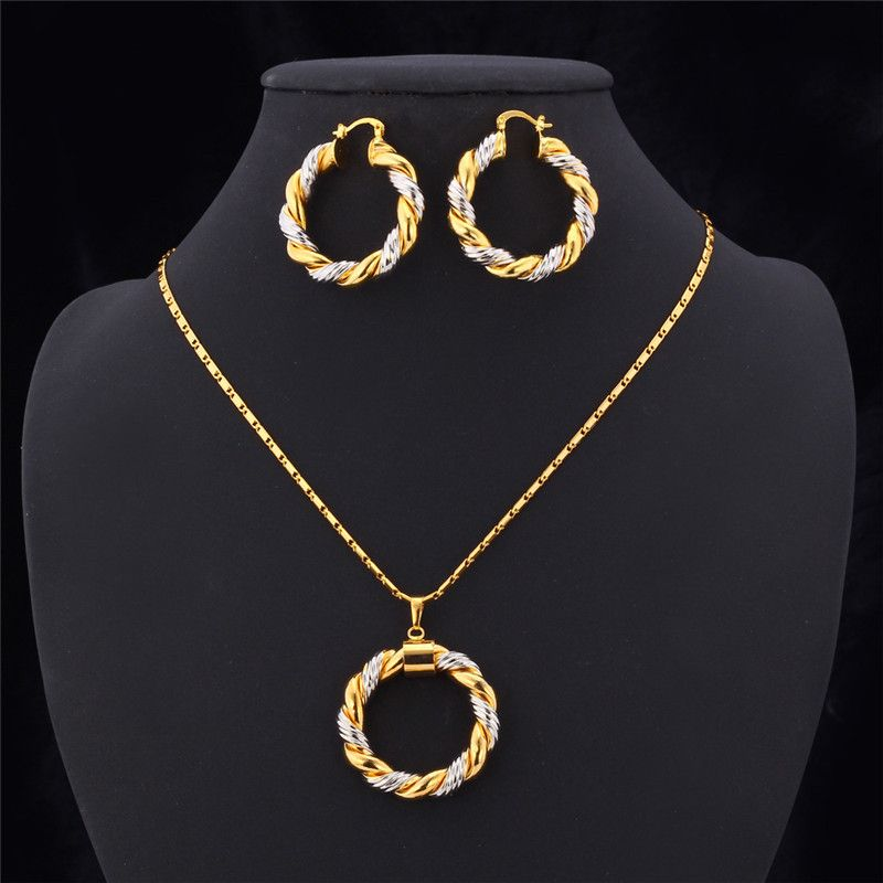 Earrings design google search jewllery for girls pinterest unique classic two tone gold plated necklace earrings set for women aloadofball Image collections