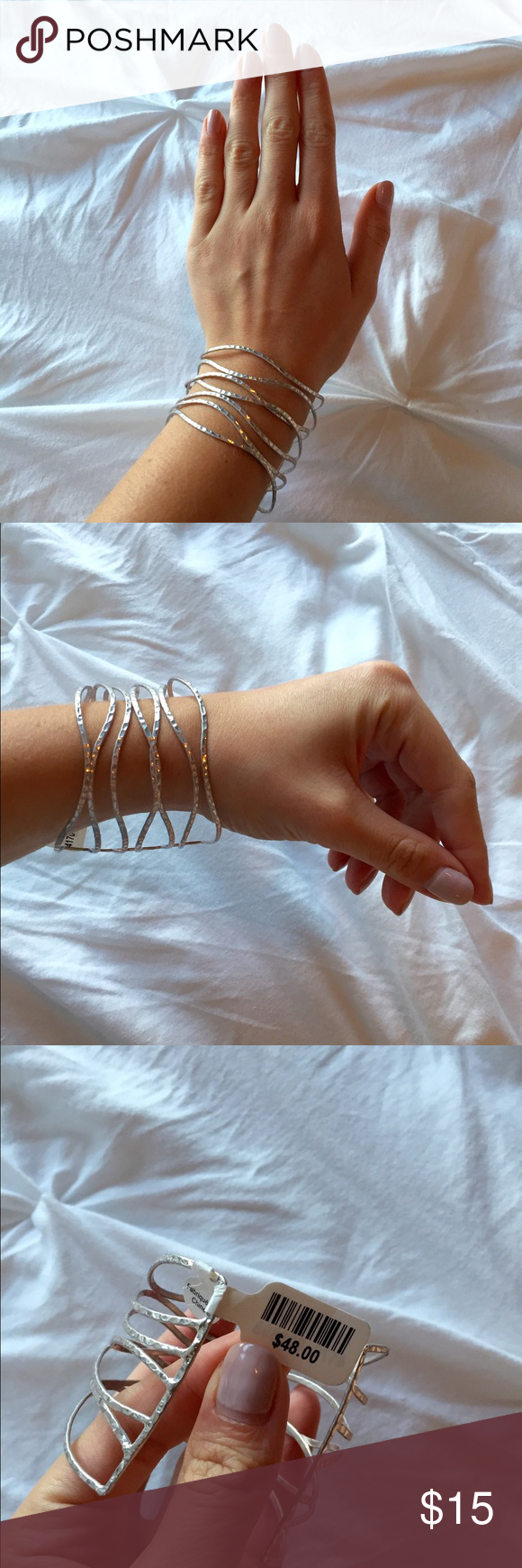 Anthropologie Silver Cage Bangle - Anthropologie Silver Caged Bangle.                     -Hammered metal detail -Gorgeous overlapping wave design over the entirety of the bracelet  -Flexible metal design can fit any wrist  -Brand new never worn, tags attached Anthropologie Jewelry Bracelets