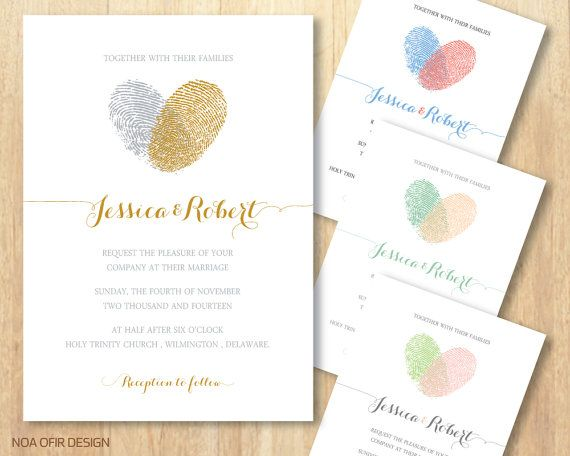 Heart Images For Wedding Invitations: Fingerprint Wedding Invitation, Heart Wedding Invitation