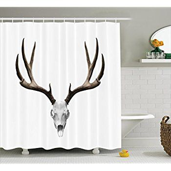 Antlers Decor Shower Curtain Set By Ambesonne, A Deer - halloween bathroom sets