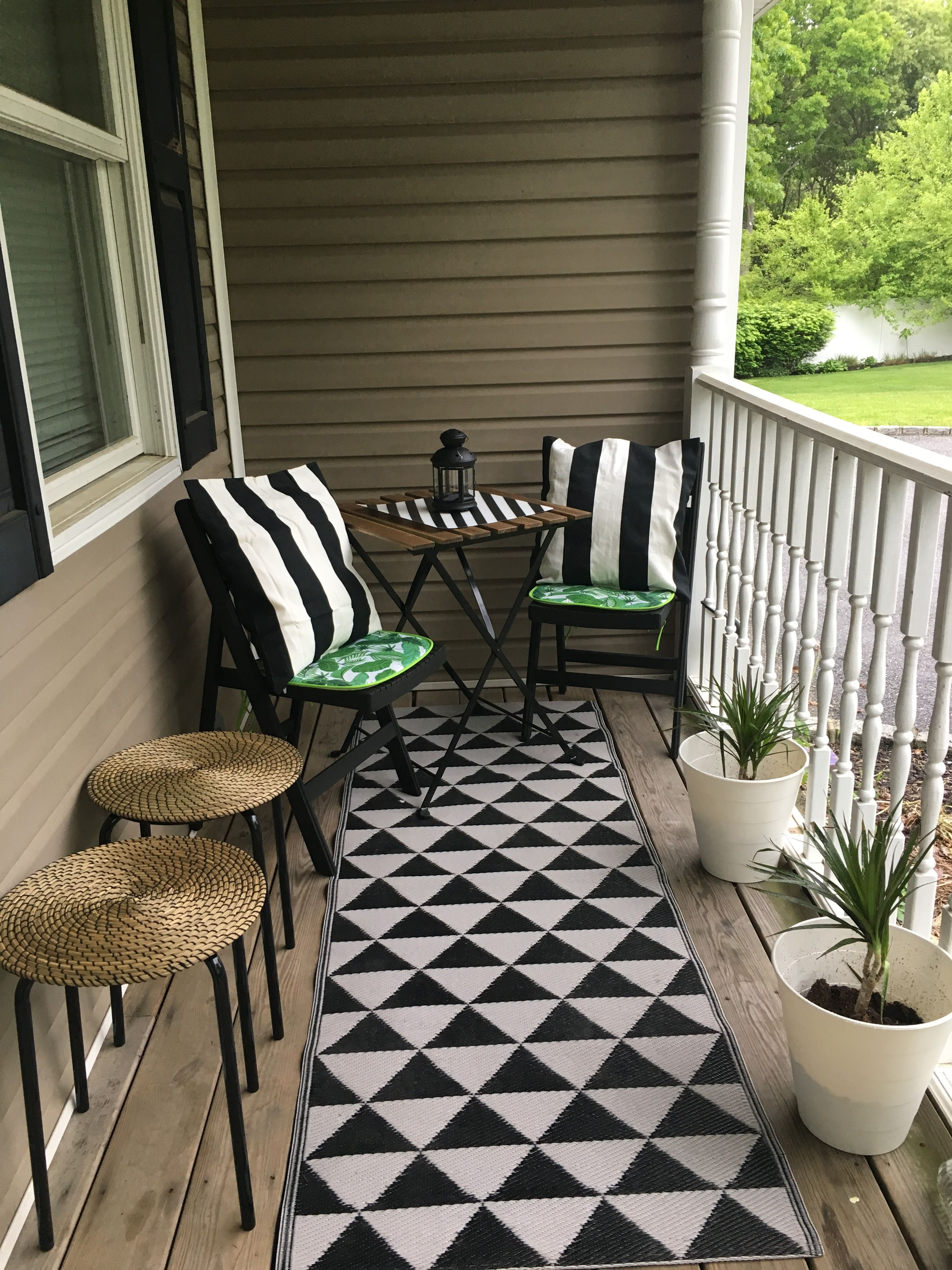 A Modern Black And White Patio Created For 72 Using Ikea And Dollar Tree Items Summer 2018 I Found The Chai Ikea Patio Rustic Patio Furniture Patio Design