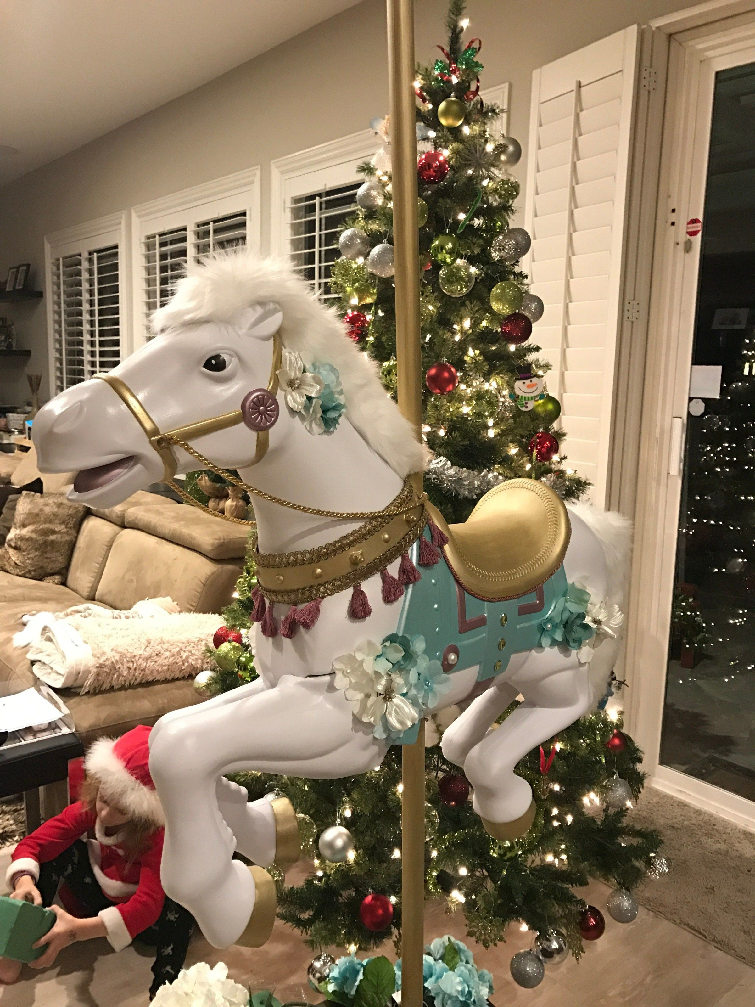 Make a carousel horse from a radio flyer jumpy toy horse