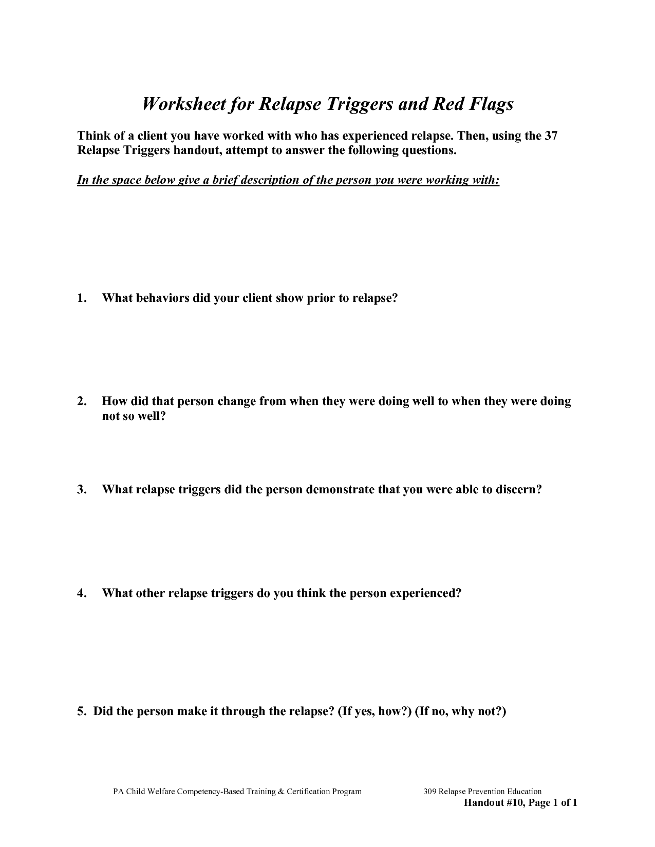 Free Worksheets For Recovery Relapse Prevention Addiction Women