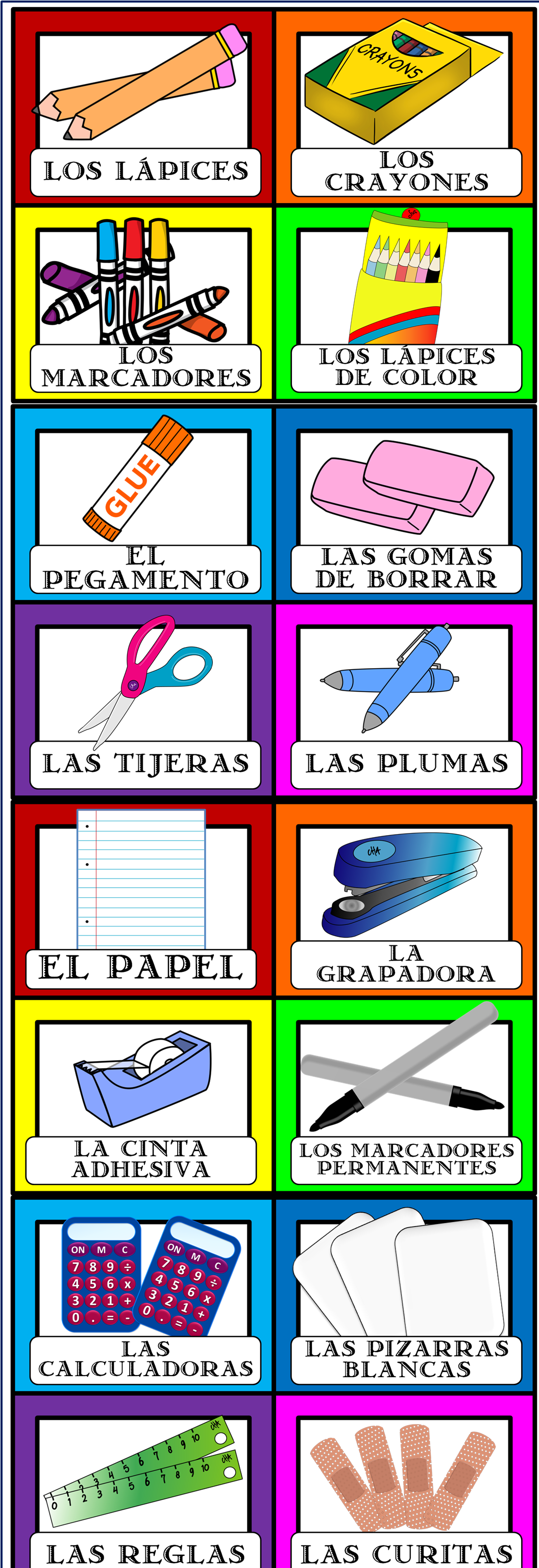Spanish Labels For Classroom Objects