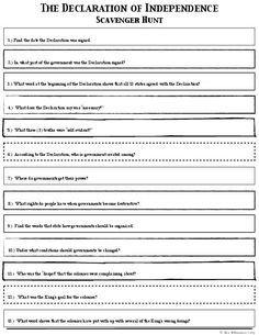 Declaration of Independence Scavenger Hunt Worksheets | Homeschool ...