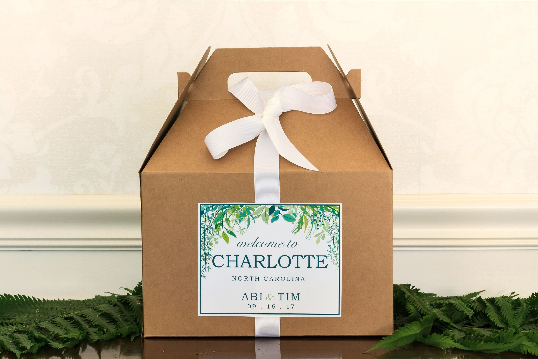 Greenery Wedding Welcome Box Labels Botanical Wedding Welcome Bag