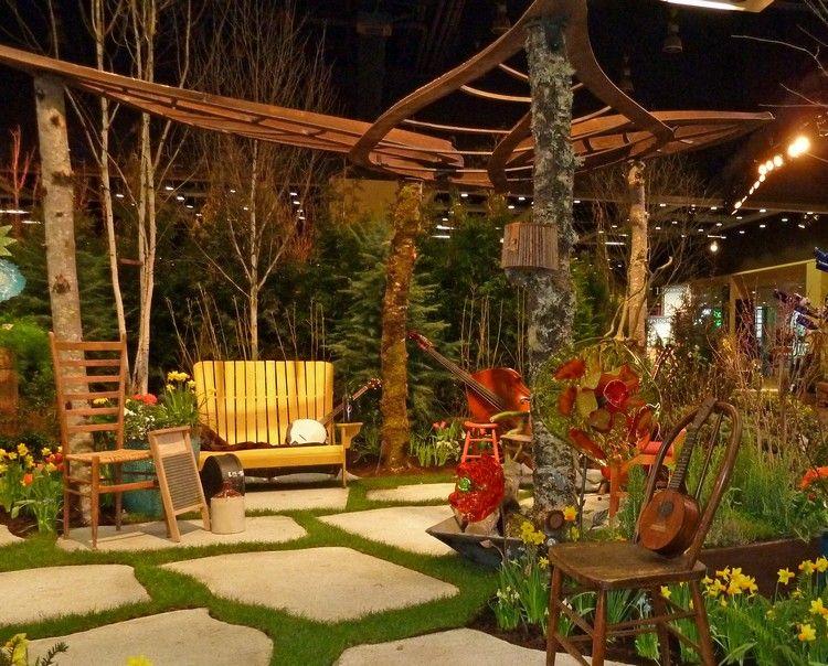 aménagement jardin extérieur - sol en dalles de pierre, canapé droit ...