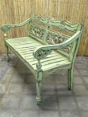 Indonesian Painted Furniture Distressed Wood Accent