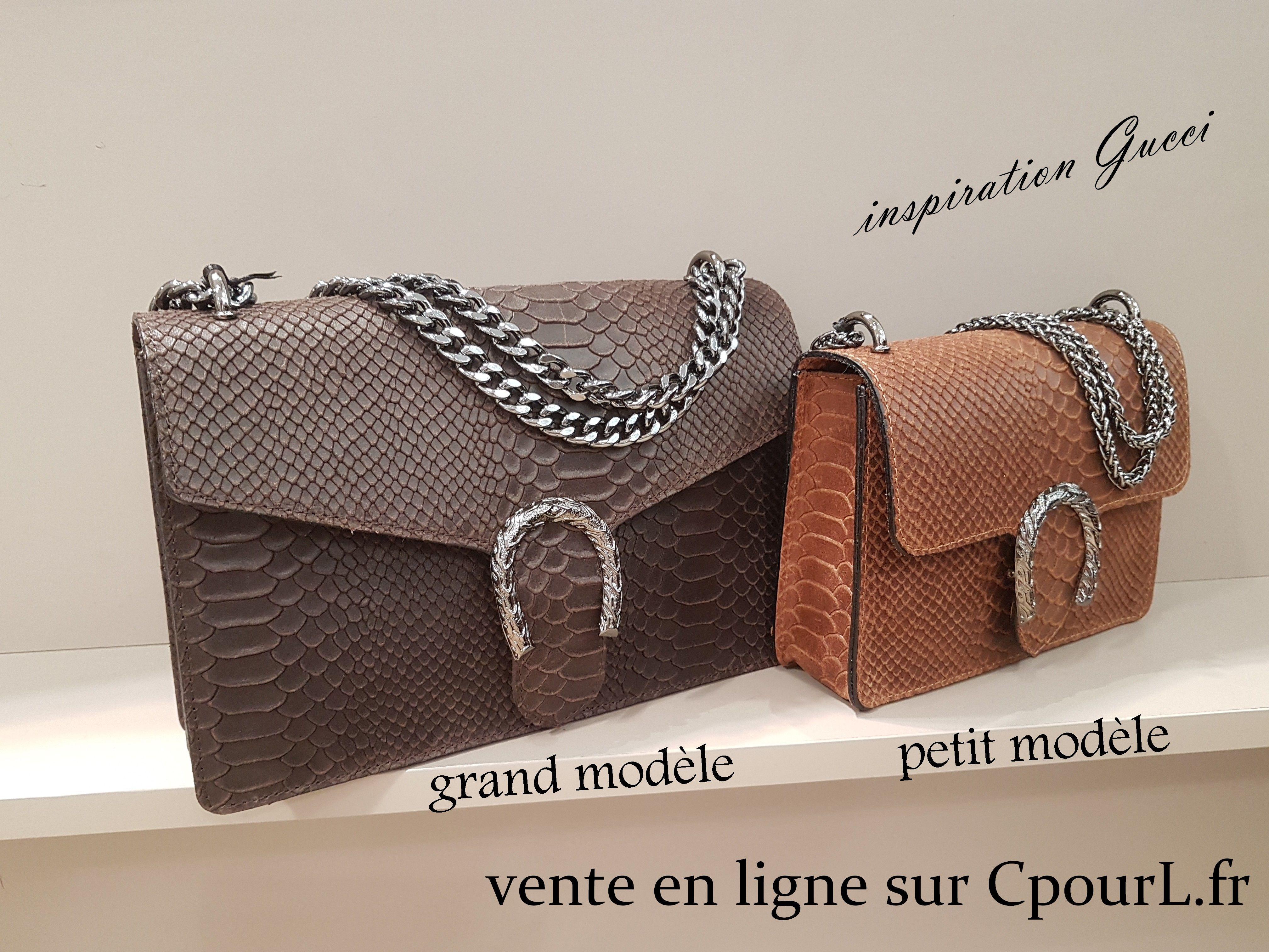sacs 2 formats cuir python boucle fer à cheval en vente