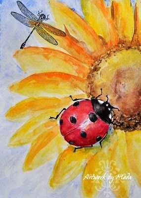 Ladybug Painting ACEO Original Art Sunflower Watercolor Dragonfly Small Artwork 2.5x3.5 by PaintingGiftsArt