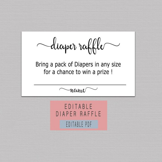 DIAPER RAFFLE TICKET Printable, diaper raffle cards instant download