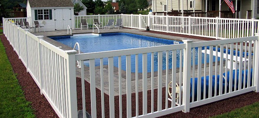 Vinyl Pool Fence And Vinyl Pool Fencing By A Vinyl Fence And Deck Wholesaler Fence Design Pool Fence Front Yard Fence