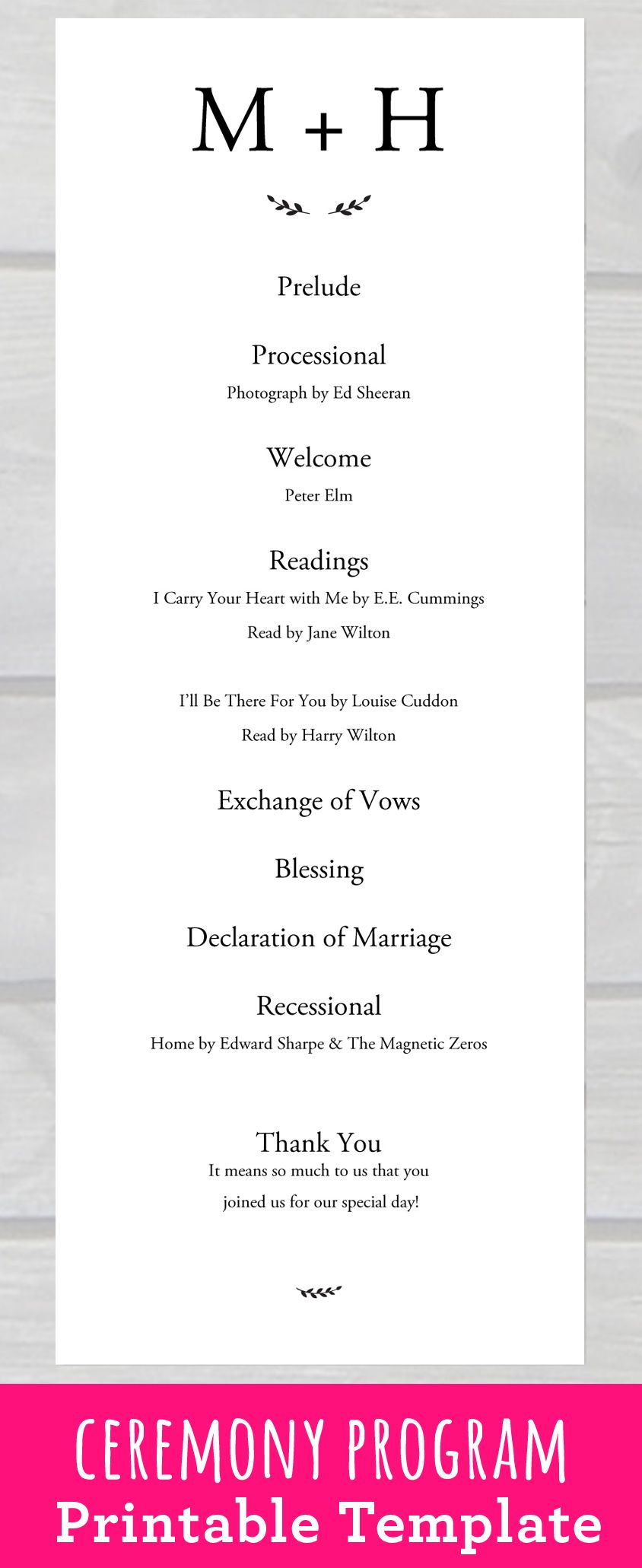 Wedding Ceremony Program Template Pdf Printable For Your Rustic Or