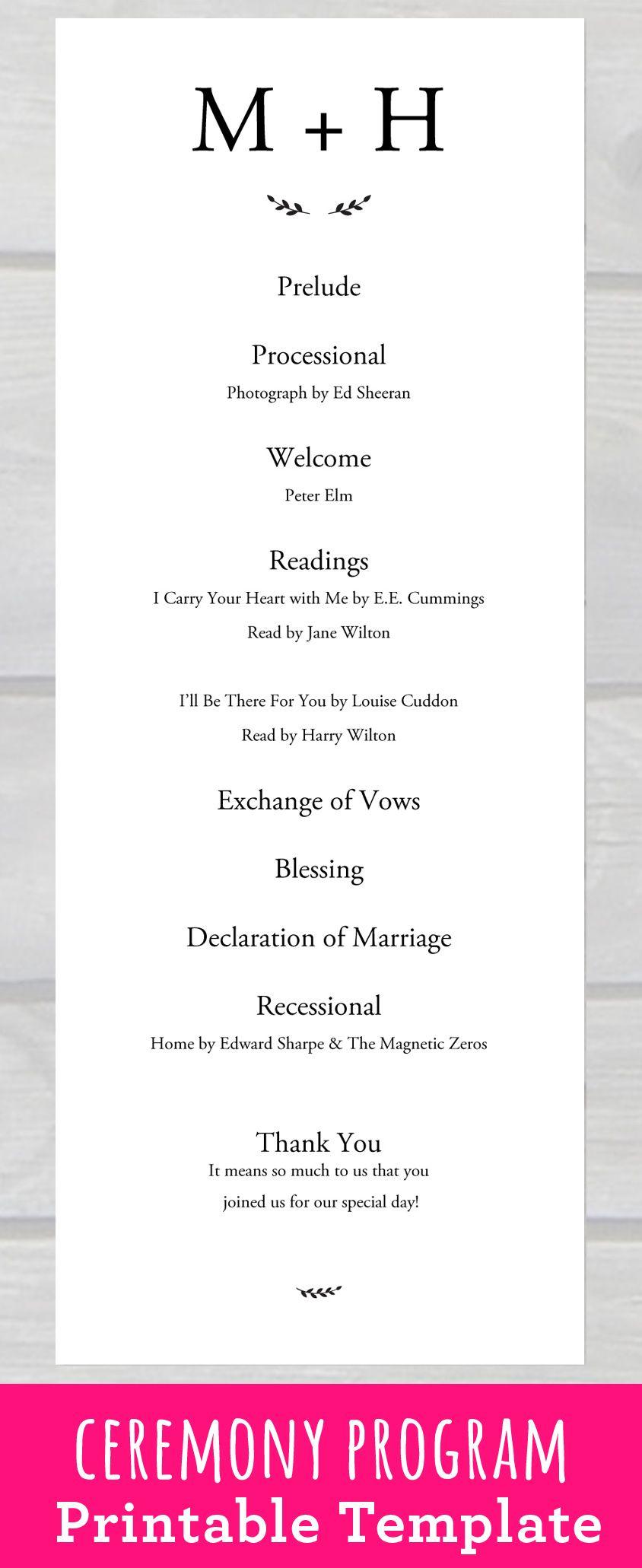 Wedding Ceremony Program Template Pdf Printable For Your Rusti