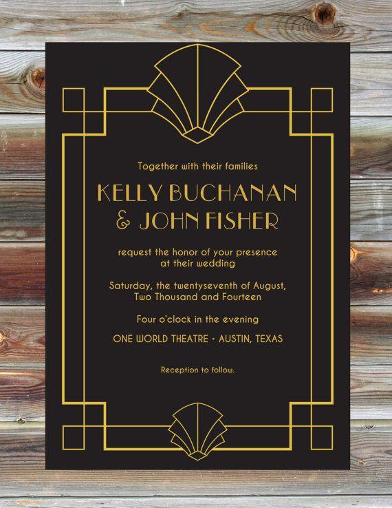 Art Deco Wedding Invitation 1920s Fan by BeautifullyBevilled, $3500 - fresh graduation invitation maker online free