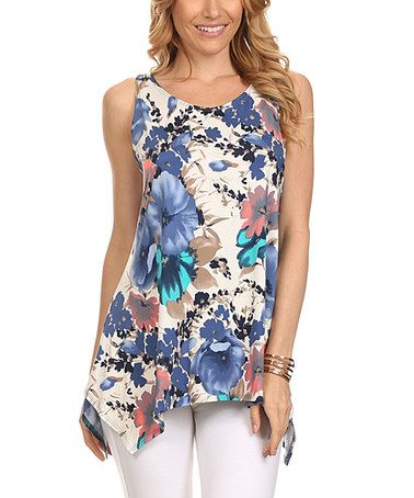 Loving this Blue Floral Sidetail Tunic on #zulily! #zulilyfinds