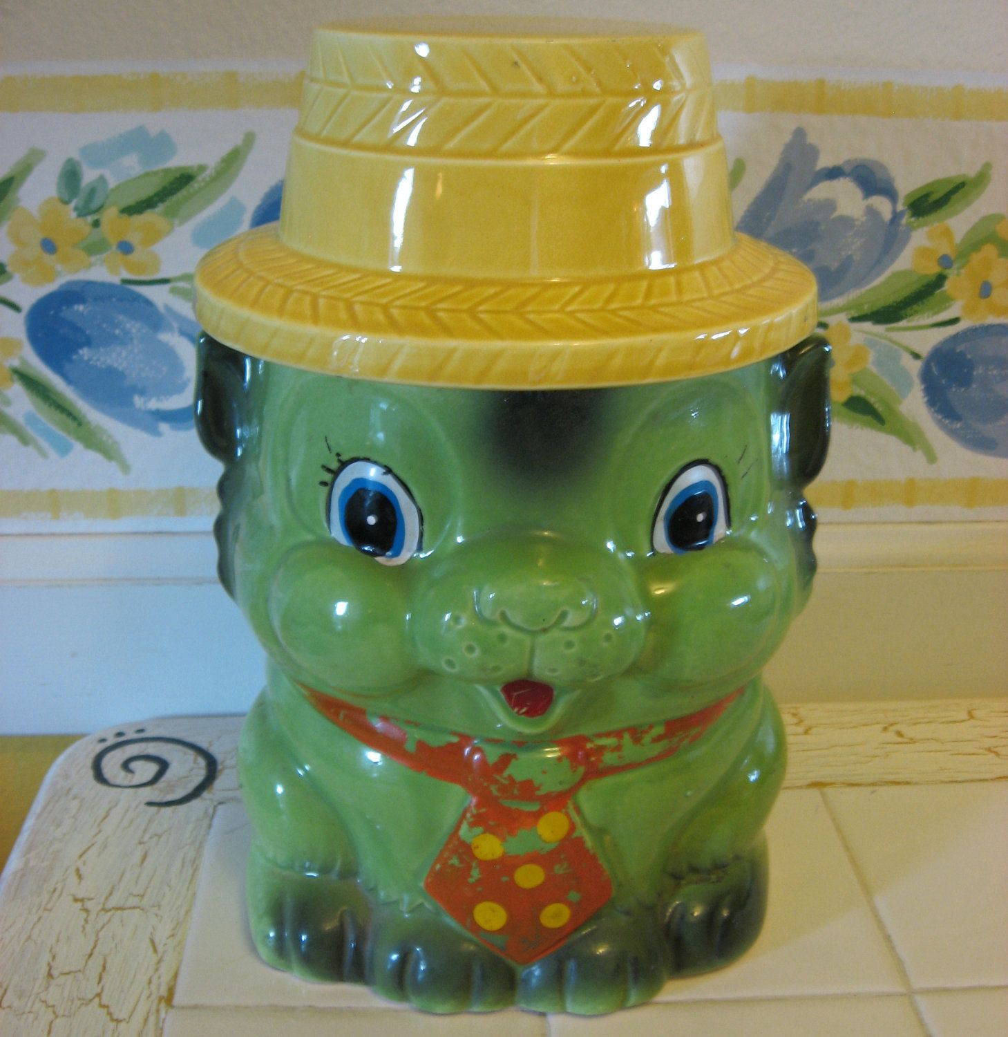 Green Kitty Cookie Jar