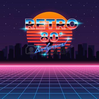 80s neon: Retro neon abstract Sci-Fi vector background in