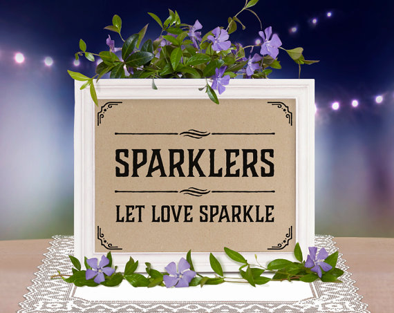Sparklers. Let love sparkle printable sign for weddings and parties. Pease note that the first picture shows how the design looks printed on craft