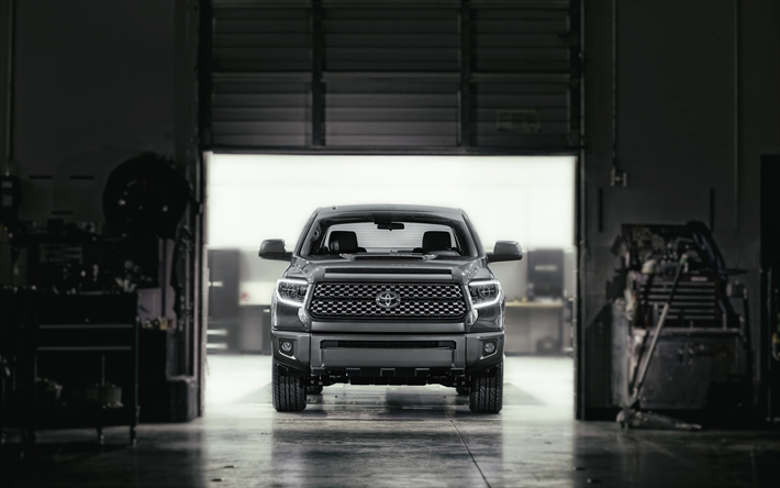 Download Wallpapers Toyota Tundra Trd Sport 4k Garage 2018 Cars