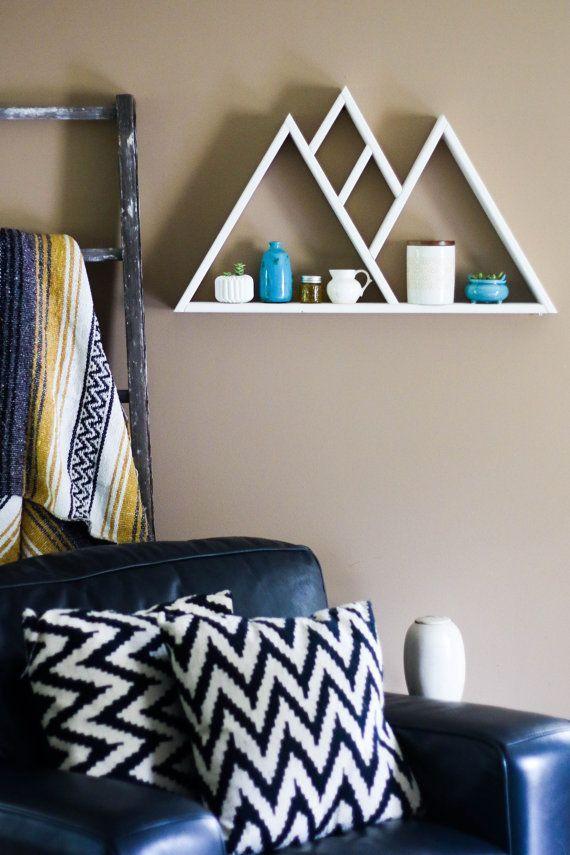 Mountain Range Pine Wood Triangle Shelf Painted White Triangle