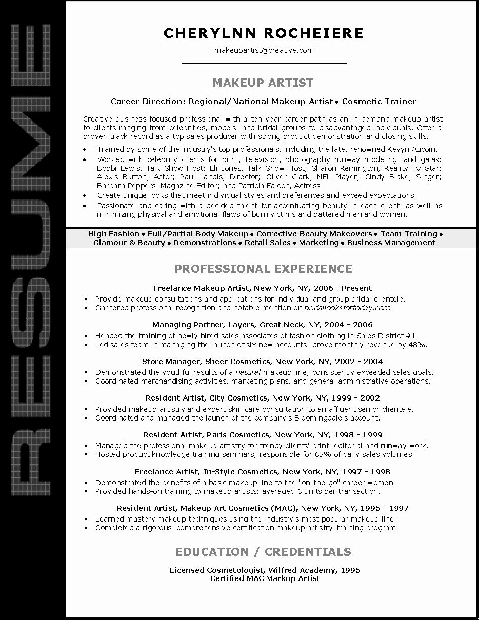 Make up artist resume unique resume sample for makeup