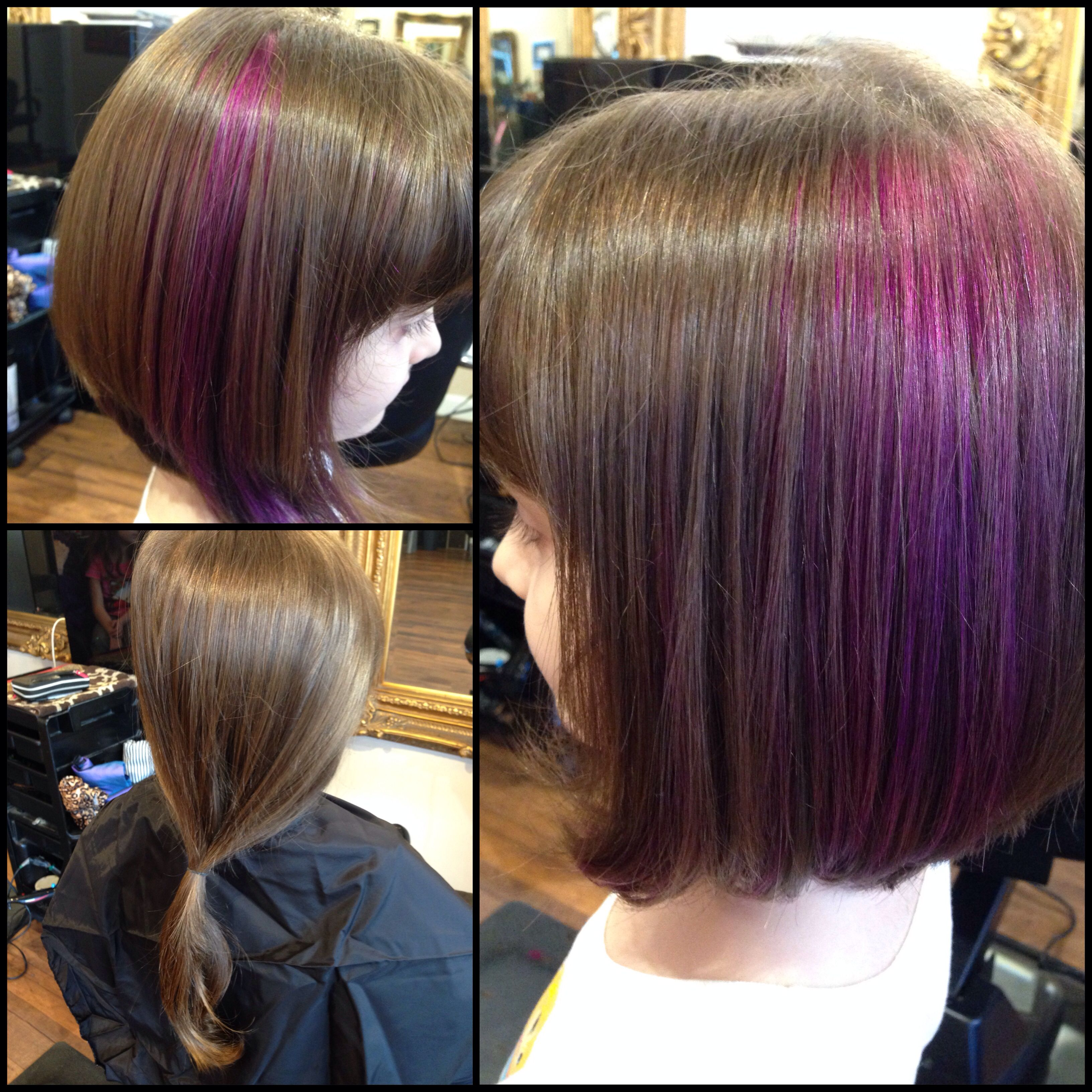 Purple for this princess who also decided to do a big cut!