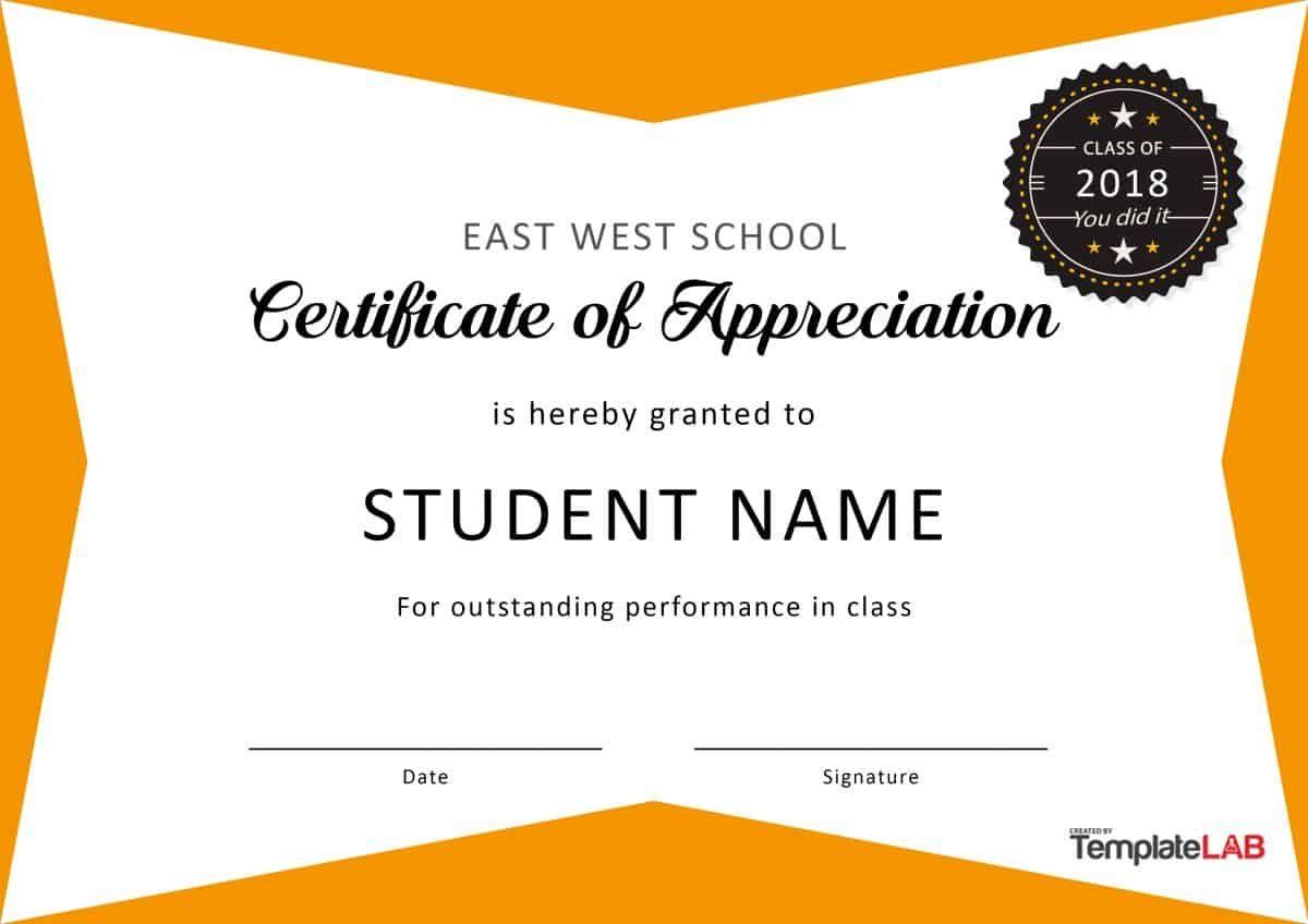 30 Free Certificate Of Appreciation Templates And Letters With Regard To Free Printable Student Of The Month Certificate Templates Best Template Ideas Certificado de agradecimiento y apreciacion