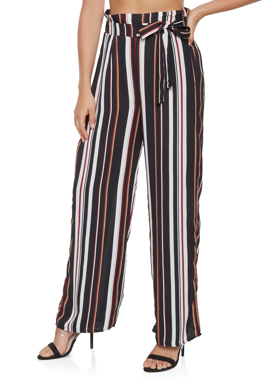 b510484f8a1 Striped Palazzo Pants - BLACK - Size S