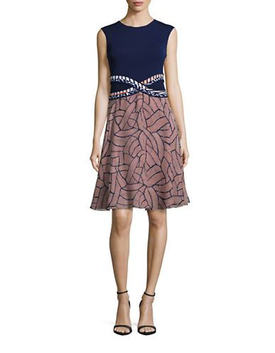 DIANE VON FURSTENBERG Diane Von FurstenbergRosalie Cross Combo Flare Dress. #dianevonfurstenberg #cloth #