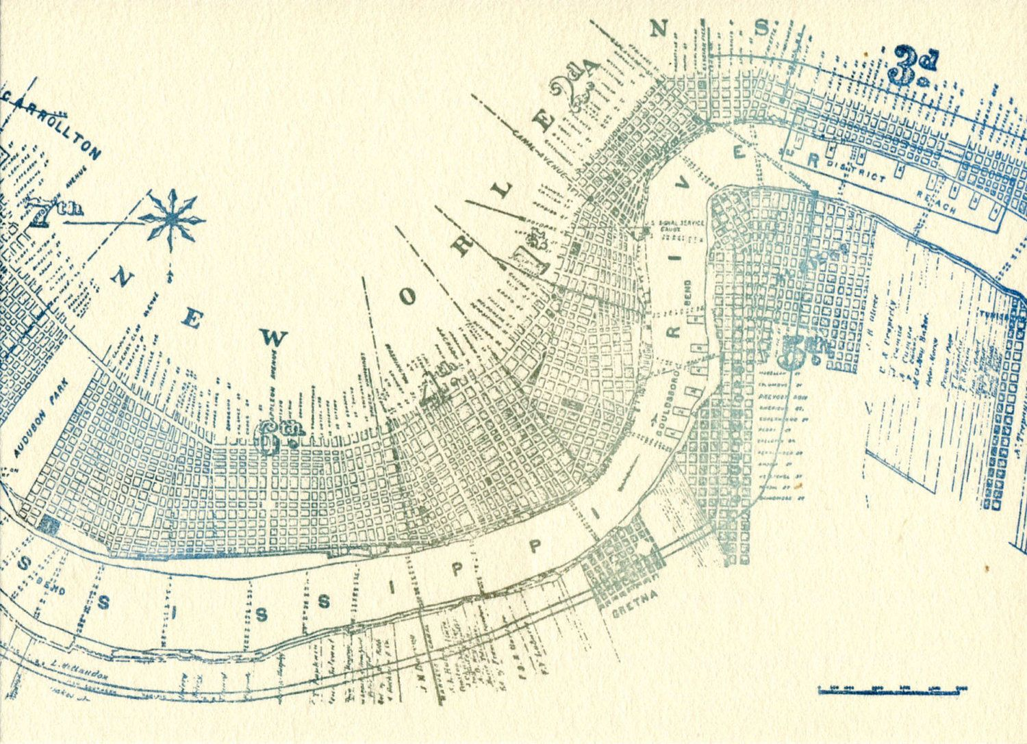 Vintage New Orleans Map Letterpress Postcard New Orleans - Map of new orleans rivers