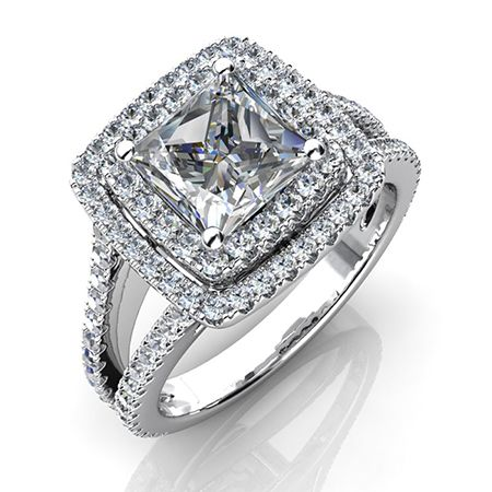1.14 Carat Princess Diamond Engagement Ring in Elegant Halo Design SI H